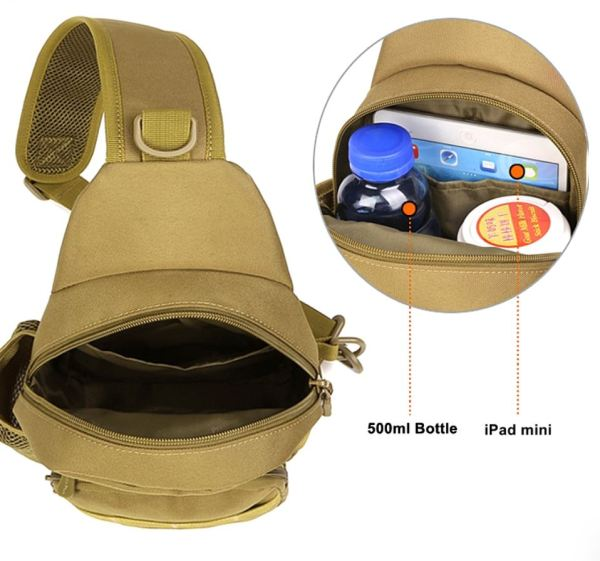 Image of Backpack showing storage areas of water bottle and iPad