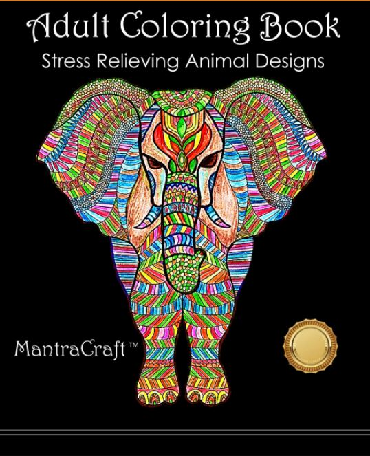 Cover page for Adult Animal Designs Coloring Book