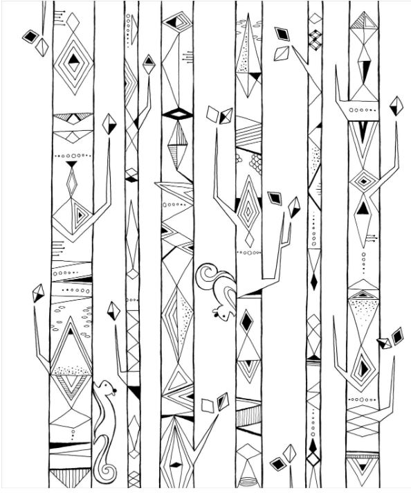 Adult Coloring Book Geometric lines in the Forest