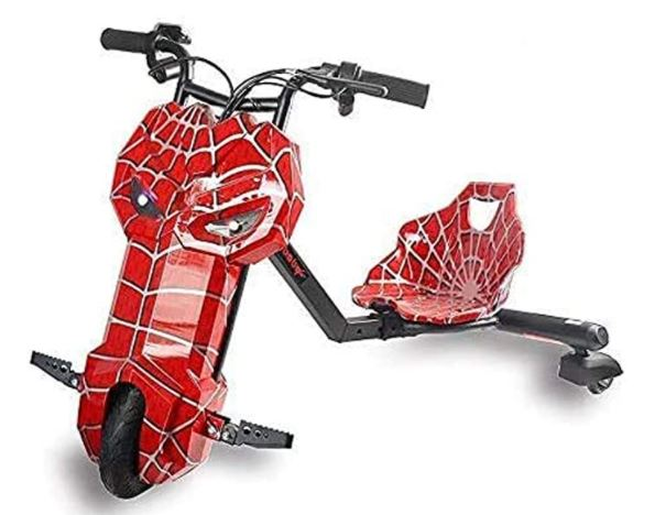 36V Electric Drifting Trike Scooter for Kids in Red Spiderman design