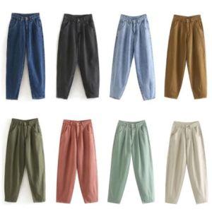 Aachoae Women Streetwear Pleated High Waist Loose Slouchy Jeans