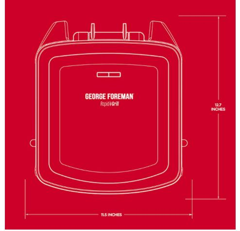 George Foreman Grill and Panini Press Dimensions