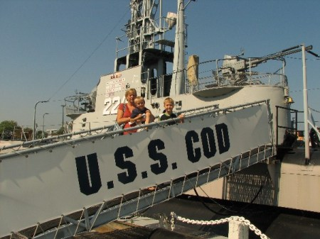 Melissa Luttmann and sons Jason and Ryan, of Cincinnati visiting the Cod