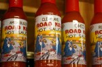 closeup look at one of the 500 different brands of hot sauce sold here