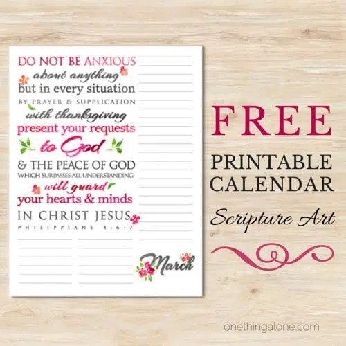 picture about Free Printable Scripture Art called March Scripture Artwork Calendar A person Matter By yourself