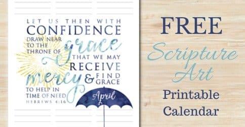 Free Scripture Art Printable Calendar:: April
