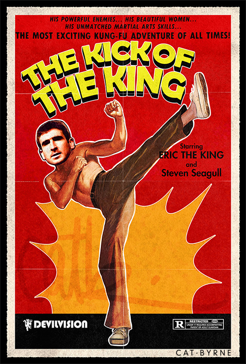 I don't know why, but he loves uk ! 583 The Kick Of The King Eric Cantona 1000 Drawings By Cat Byrne