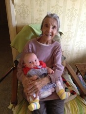 First road trip back to where mummy was born. Here's Peanut with her Great Gran!