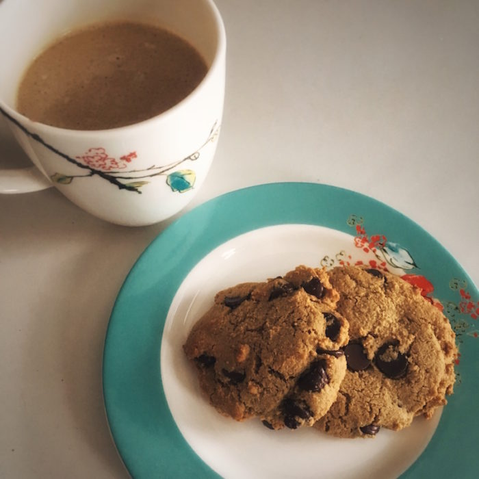 photo of paleo cookies and coconut milk latte