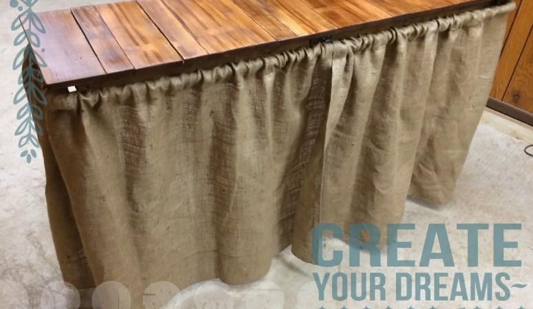Simple Diy Barnwood Table W Burlap Curtains