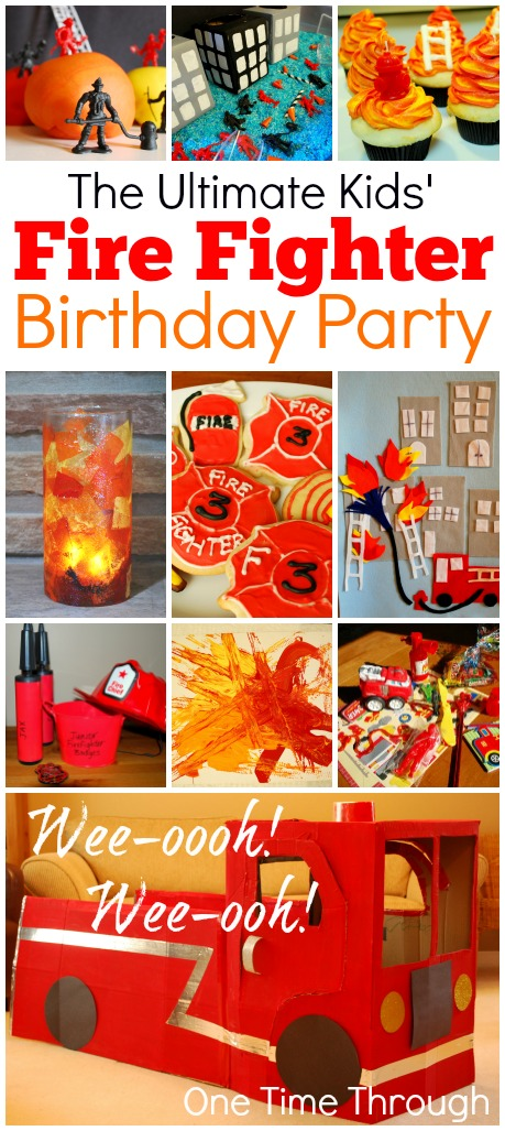 FireFighter 3rd Birthday Party DIY Cardboard Firetruck