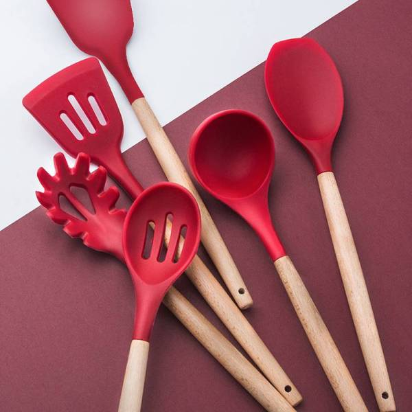 10/11/12/13 PCS Kitchen Utensils Set Red Cooking Utensils Set Silicone Kitchen Tools Gadgets Wooden Spatula Set with Holder box