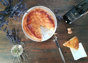 table with a Galette du Rois, and the bottle of the Cremant du Loire