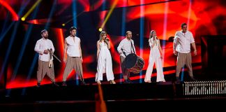 "Argo representing Greece with the song ""Utopian Land"" during a rehearsal before the first semi final of the Eurovision Song Contest 2016 in Stockholm."