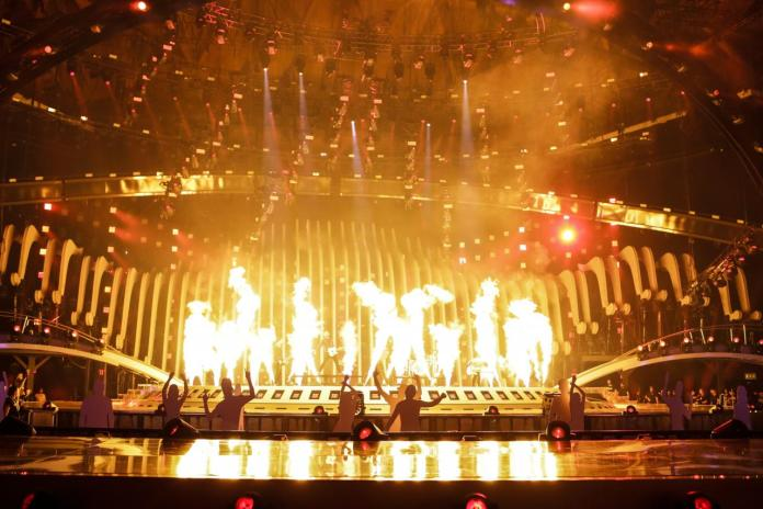 AWS on stage at Eurovision 2018 rehearsals