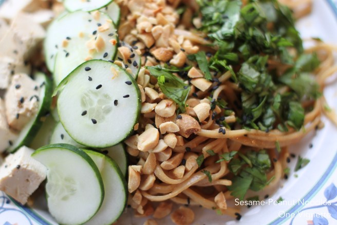 Recipe. Sesame Peanut Noodles. close up