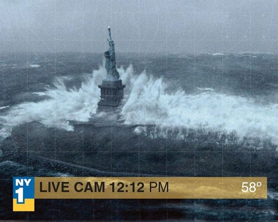Fake Hurricane Sandy Hits Liberty