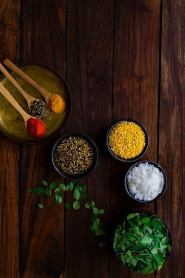 Moringa Leaves, Split Yellow Moong Daal and other ingredients photography | Sehjan Saag Moong Daal