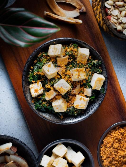 Spinach and Tofu with Peanut Chutney Powder