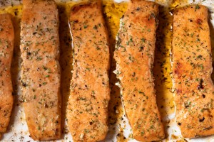 Tray Baked Salmon with Lemon and Parsley