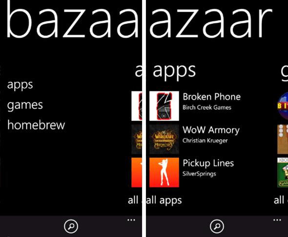 Bazaar para Windows Phone 1