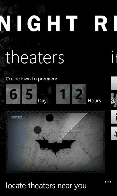 The Dark Knight Rises aplicación oficial en exclusiva para los Nokia Lumia 3