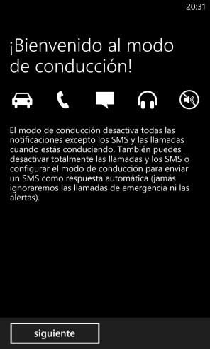 Modo de Conducción en Windows Phone 8