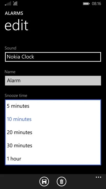 App Alarmas en Windows Phone 8.1 Update 1