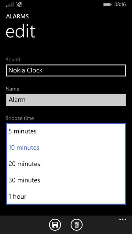 App Alarmas en Windows Phone 8.1 Update 1