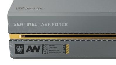 Detalles parte frontal de la Xbox One personalizada con la iconografía de Sentinel Task Force