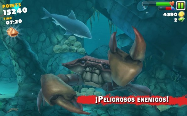 ¡Peligrosos enemigos! en Hungry Shark Evolution
