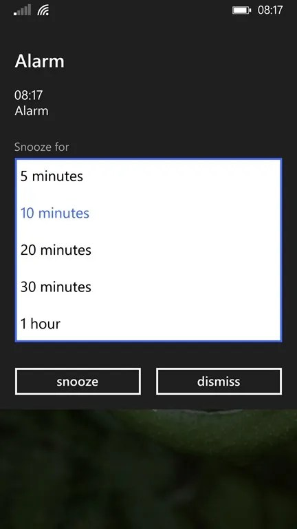 Alarma sonando en Windows Phone 8.1 Update 1