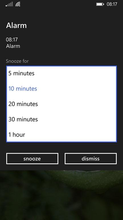 Alarma sonando en Windows Phone 8.1 Update 1