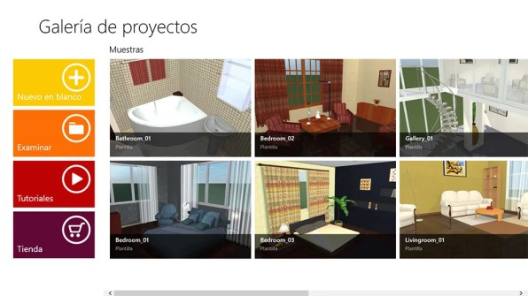 Pantalla inicial de Live Interior 3D Pro en Windows 8