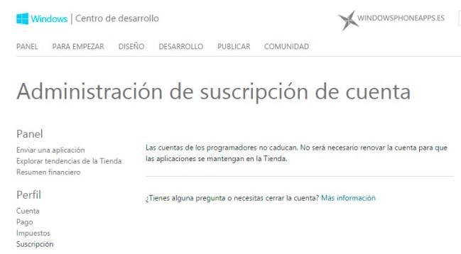 Suscripción cuentas de desarrolladores en Windows