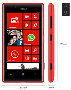 Dimensiones del Nokia Lumia 720
