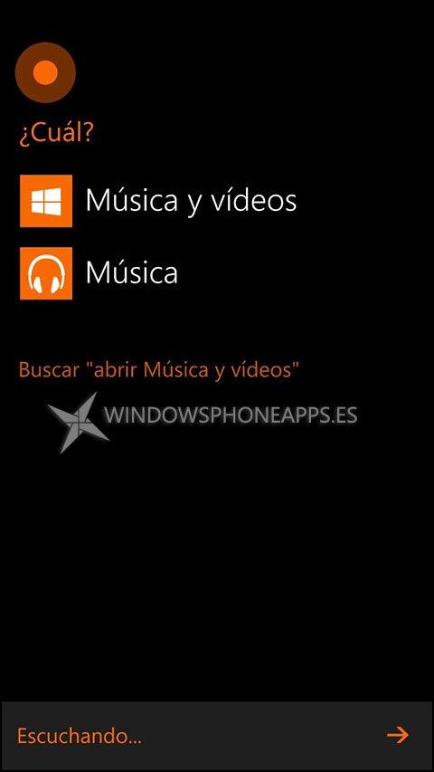 musica y videos cortana