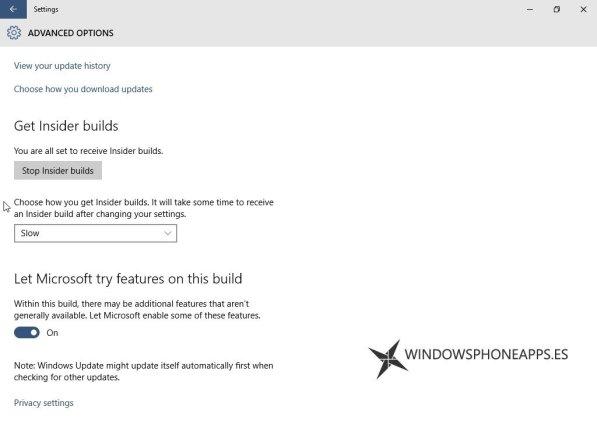 windows 10 build 10134 ajustes insider