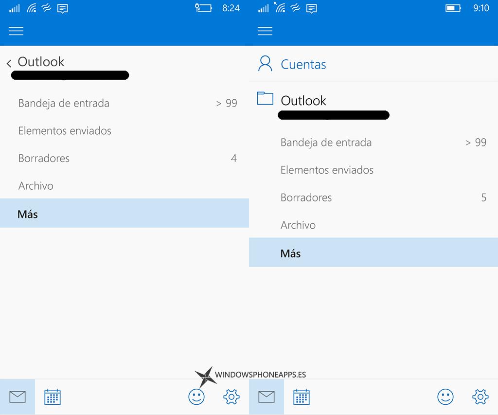 correo windows 10 antes y despues