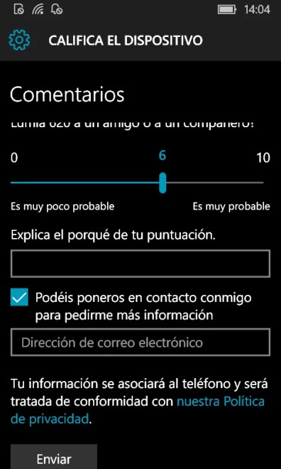 Califica tu dispositivo en Windows 10 Mobile (3)