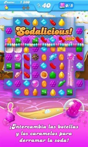 Pantalla de juego de Candy Crush Soda Saga