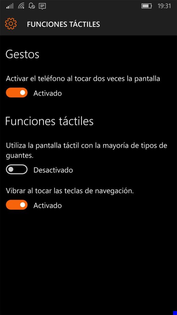 Funciones táctiles en Windows 10 Mobile