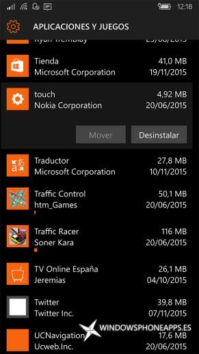 táctil en Almacenamiento de Windows 10 Mobile