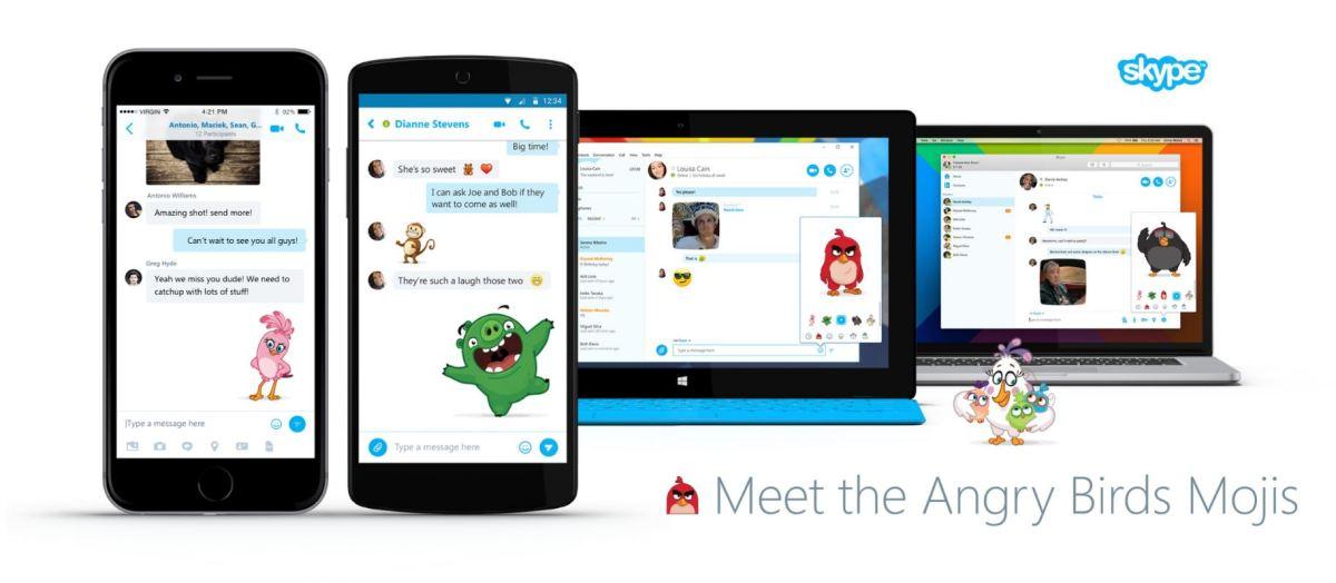 Personajes de Angry Birds en Skype