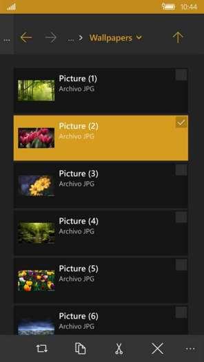 Gestor de Archivos Windows 10 Mobile 4