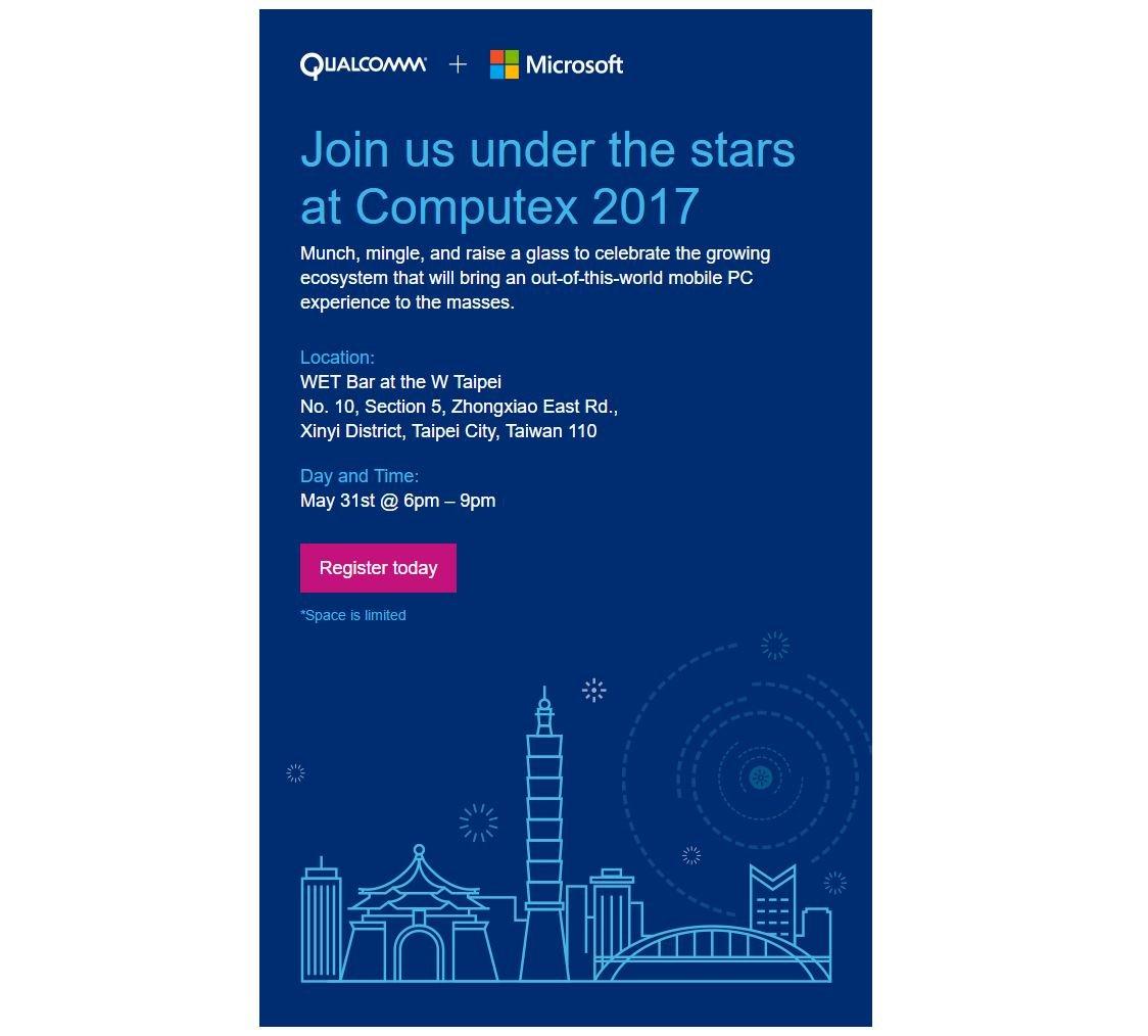 Microsoft y Qualcomm anuncian un evento para el 31 de Mayo en el Computex 2017