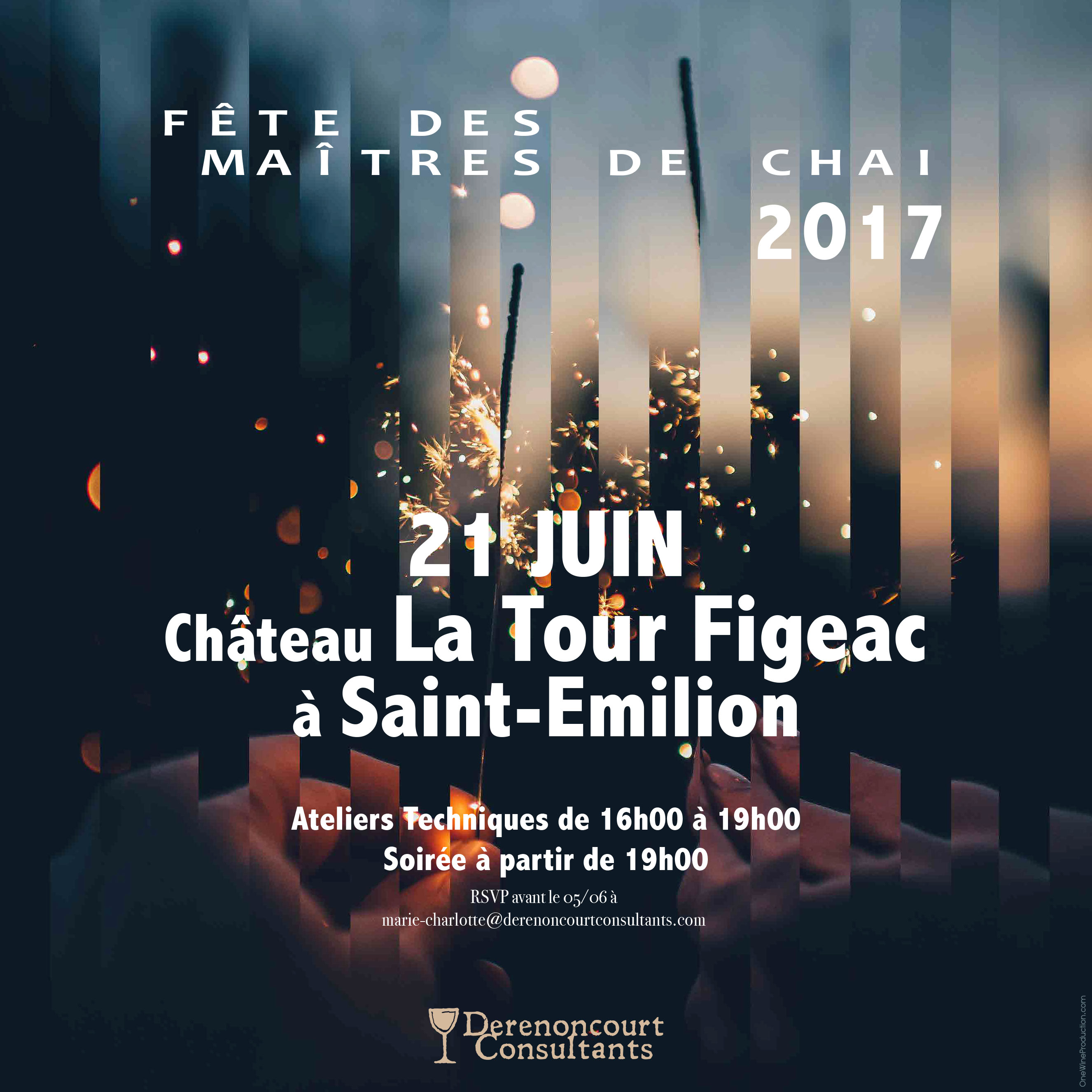 invitation soiree maitre de chai Derenoncourt Consultants