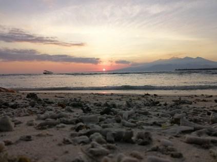 Sonnenaufgang am nächsten Morgen auf der Koralleninsel.