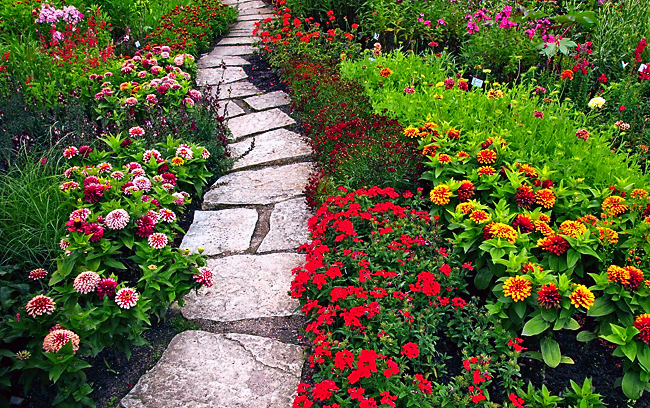 Choosing A Path And Staying On It      One World Rising beautiful bright flowers garden green Favim com 120627