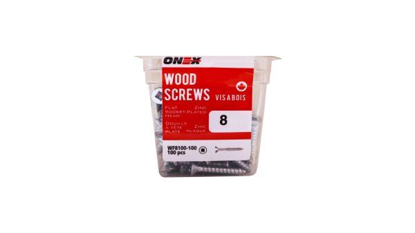 Pkg100, #8 FH Socket Steel Wood Screws